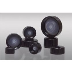 24-400 Black Ribbed Phenolic Cap with Polyseal Cone Liner, Packed in bags of 12, CS576