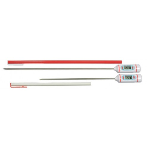 Digital Lab Thermometer, -58/536F and -50/280C, 8in Stem , Cal at 0.2C and 0.5C