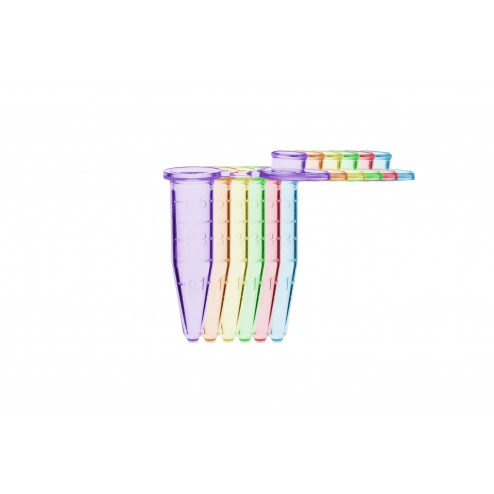 Microtube w/ cap, 0.5ml, assorted (B, R, G, O, P, Y), w/ self-standing bag, PK500