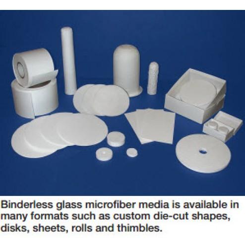 Labexact Grade E cut 2.5cm diameter - 100/pk Binderless glass microfiber filter media