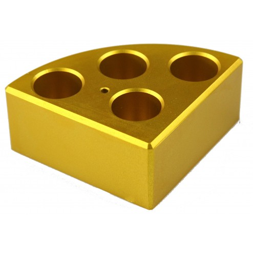 Gold quarter reaction block, 4 holes 16ml reaction vessel 21.6mm dia x 31.7mm depth