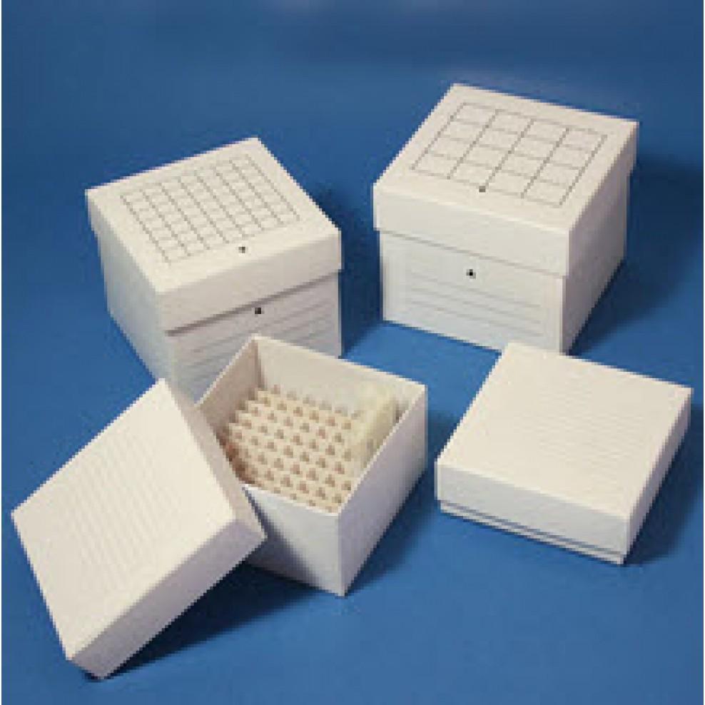 Freezing Box, Cardboard, 49-Place , 7x7 format, for 15mL Centrifuge Tubes,  White, CS36