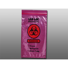6x9in Red Tint Biohazard Reclosable 3-Wall Specimen Transfer Bags