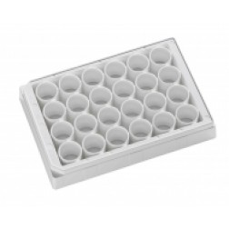 24-well microplate clear bottom PS microplate White, Tissue Culture Treated. With Lid.Individually
