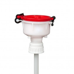 EZwaste 4in Safety Funnel, HDPE, Red Lid, VersaCap 53mm