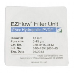 EZFlow Syringe Filter, 0.45um Hydrophilic PVDF, 13mm, Sterile, 100/pack