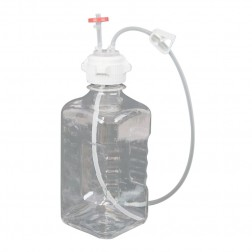 EZBio Single Use Assembly, Media Bottle, 2000mL, PETG, Vented with Tubing, Sterilized,10cs CS10