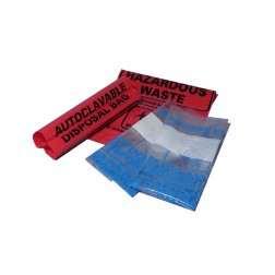 Autoclave bags, 24x32in., 61 x 81.3cm, clear, biohazard, printed, marking area, PK200