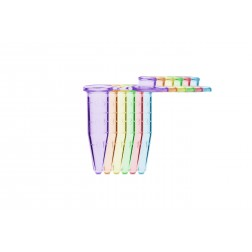 Microtube w/ cap, 1.5ml, assorted colors (B, R, G, O, P, Y), w/ self-standing bag & Stop-Pops , PK