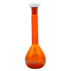 Flask Volumetric Amber class 'A', cap. 100ml, fitted with polypropylene stopper, borosilicate glas