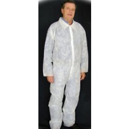 Polypropylene Coverall, Open Wrist White/Blue, Large, CS30