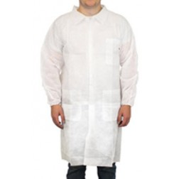 Polypropylene Lab Coat, L, No Pocket, Elastic Wrist, 4 Snaps, CS30