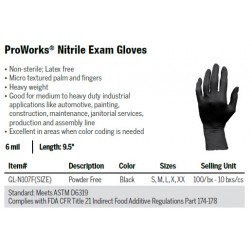 ProWorks® Black Nitrile Powder-Free Exam Gloves, 6 mil, L, CS1000