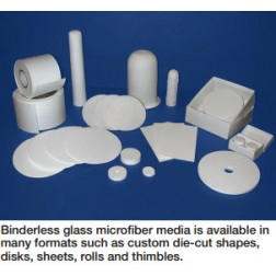 Labexact Grade B cut 5.5cm diameter - 100/pk Binderless glass microfiber filter media