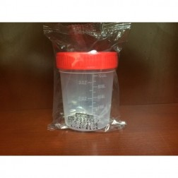 Specimen Container, 4oz with 1/4-Turn Red Screwcap and ID Label, STERILE, PP, Individually Wrapped