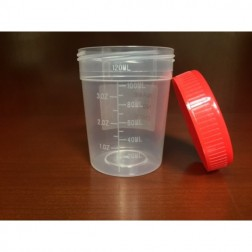 Specimen Container, 4oz with Separate 1/4-Turn Red Screwcap, Non-Sterile, PP, Graduated, (600/cs)
