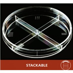 Petri Dish, 100 X 15, Quad Plate Stackable, 25 Dishes/Sleeve, CS500