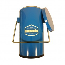 2Ltr. Blue Enameled Cased Dewar Flask with Handle and Lid, Diameter 5.6, Height 10.6, Internal Dia