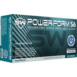 5 CASE MINIMUM ORDER ON ALL SW SAFAETY GLOVES - SW PowerForm S6, Nitrile Industrial Glove, S, PK10
