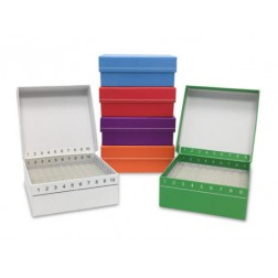 FlipTop Carboard freezer box w/ attached hinged lid, 81-place, green, 5/pk