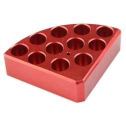 Red quarter reaction block, 11 holes 4 ml reaction vessel 15.2mm dia x 20mm depth