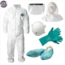 Personal Protection Kit - Tyvek Disposable Coveralls with Hood, N95 Mask, Gloves, Face Shield
