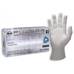 SW Pulsar S5 Vinyl Exam Glove, Small, PK100, CS1M
